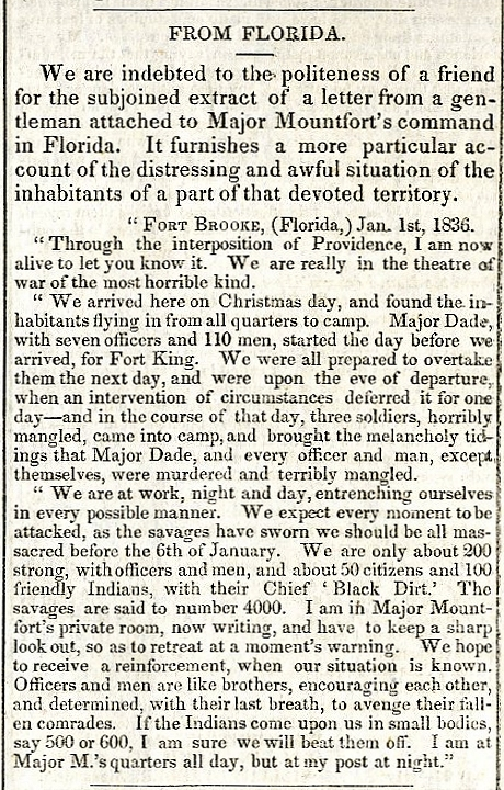Newspaper in the Daily National Intelligence, January 27th, 1836