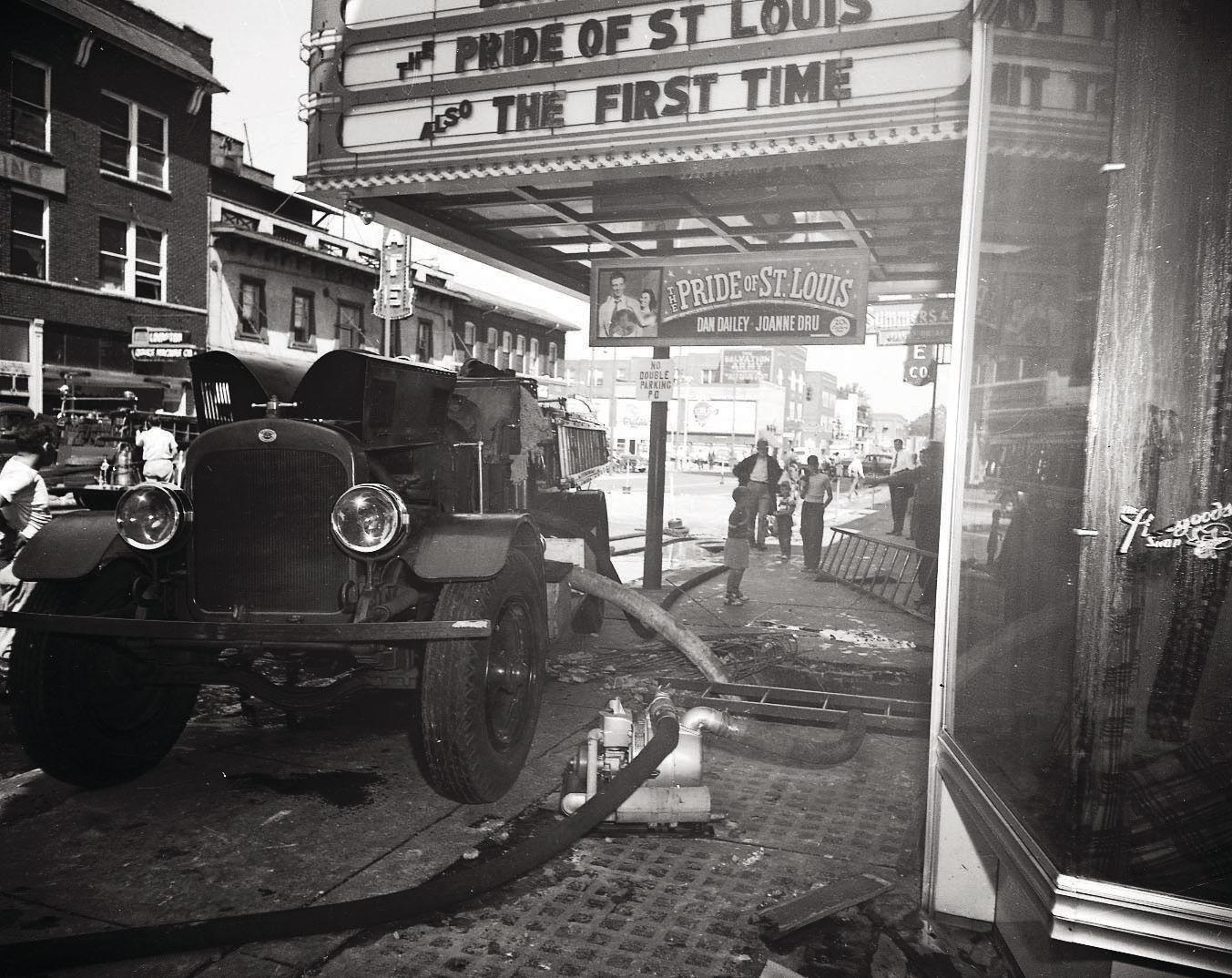 Firefighters respond to the fire at the Roxy on August 25, 1952