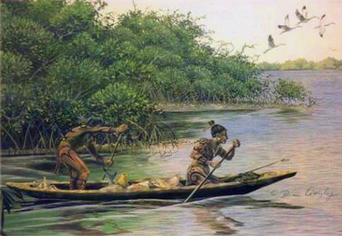 Early Tocobaga Indians depicted in a painting by Florida historical artist Dean Quigley