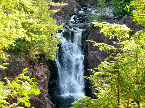 The park features waterfalls such as this one.
