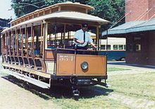 An 1896 open car in operation at the Baltimore Streetcar Museum