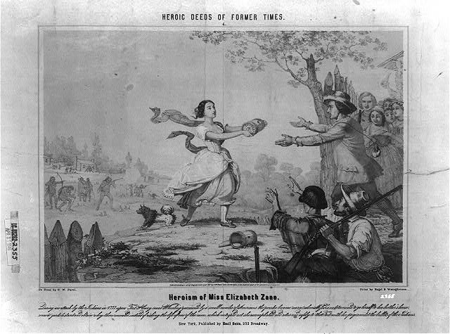 Depiction of Betty Zane's run for powder and ammunition during the 1782 Siege of Fort Henry.