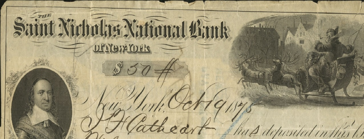 A $50 note from Saint Nicholas National Bank issued in 1875