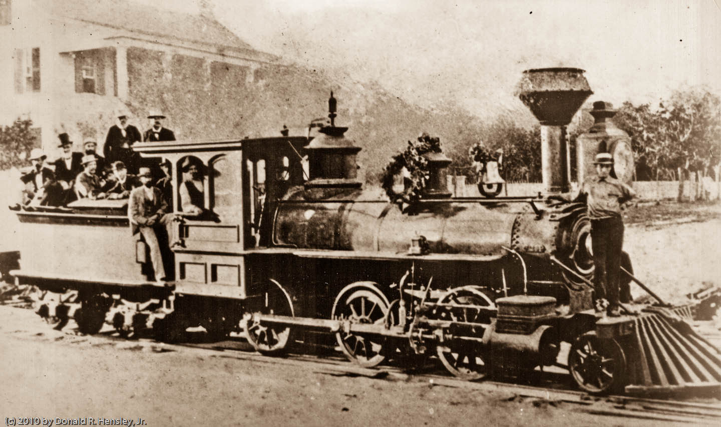 One of Florida Southern's first locomotives at Gainesville, Florida in 1881.