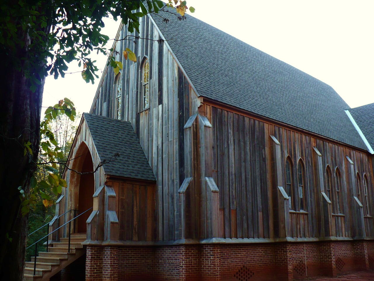St. Luke's Episcopal Church, built in 1854. It was moved to Martin's Station in 1878 but returned to Cahawba in 2007.