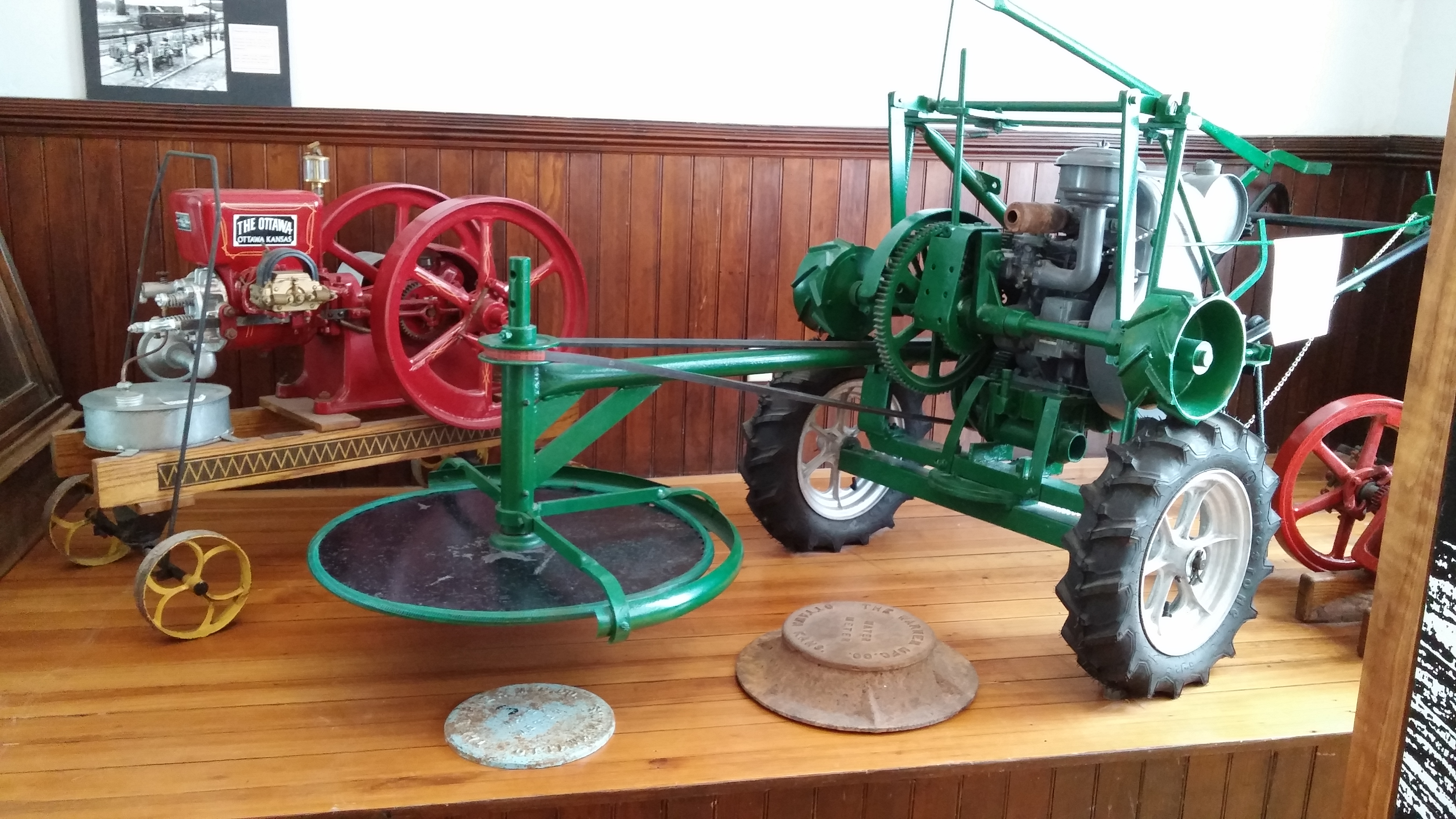 The industry room features artifacts from many local companies, including machines built by Warner Manufacturing.