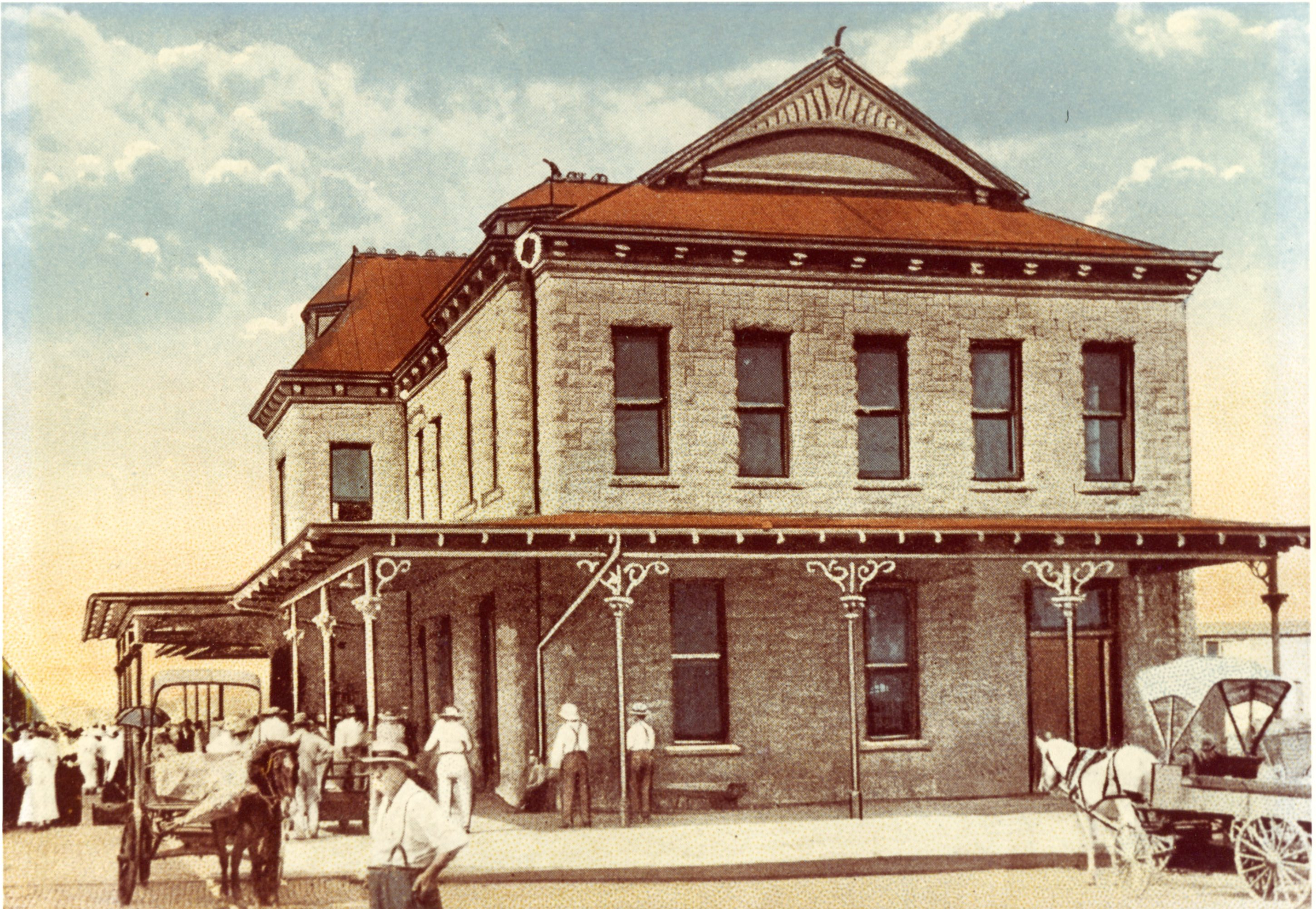 Historic photo of the Santa Fe Depot, now the Old Depot Museum. Ca 1900.