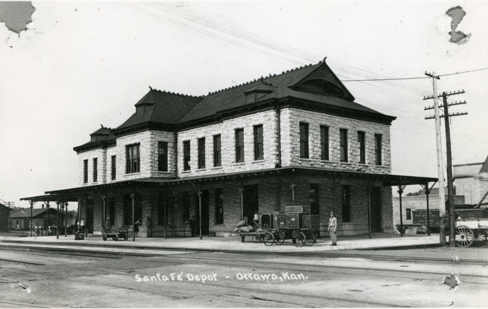 Historic photo of the Santa Fe Depot, now the Old Depot Museum. 1912.