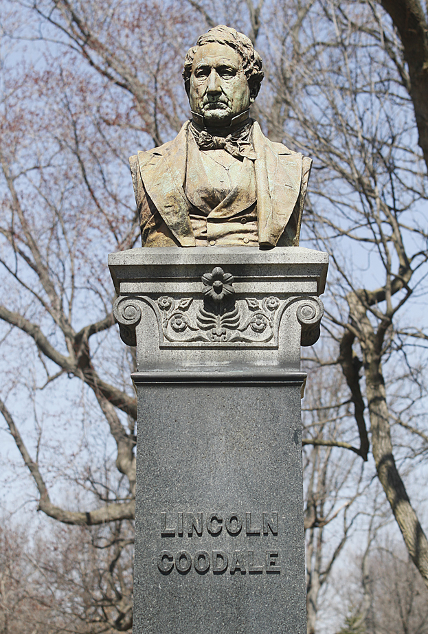This statue of Goodale is located at the south end of the park.