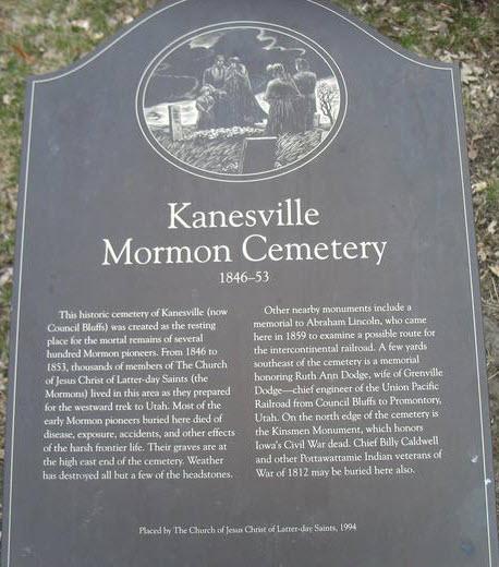 The Kanesville Mormon Cemetery Plaque.