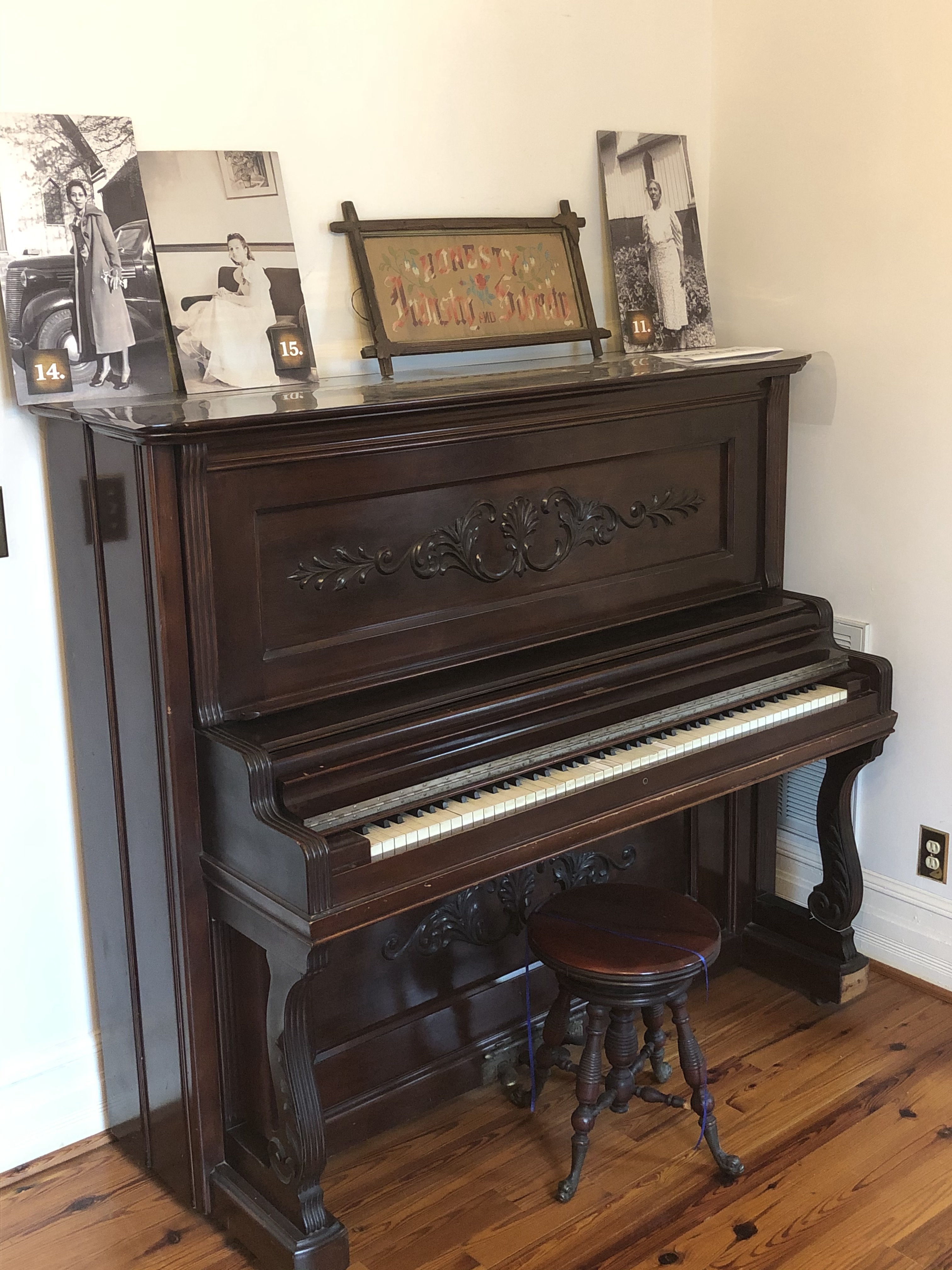 An 1860's era piano the Dr. Pope purchased from Chicago. Pope's second wife, Delia Haywood Philips Pope, played the piano frequently.