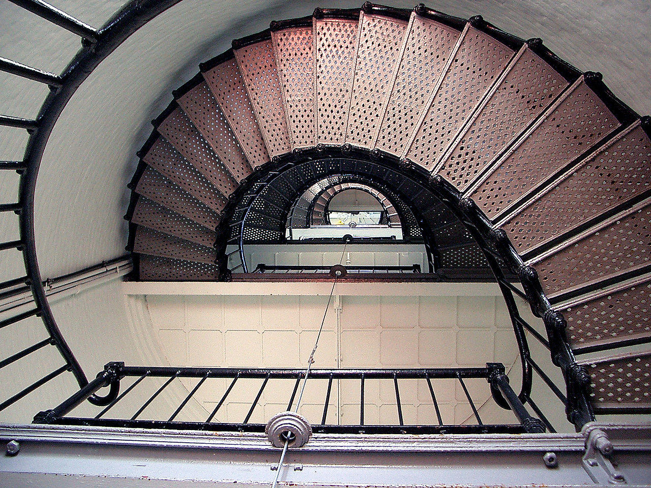 Spiral staircase within the lighthouse.