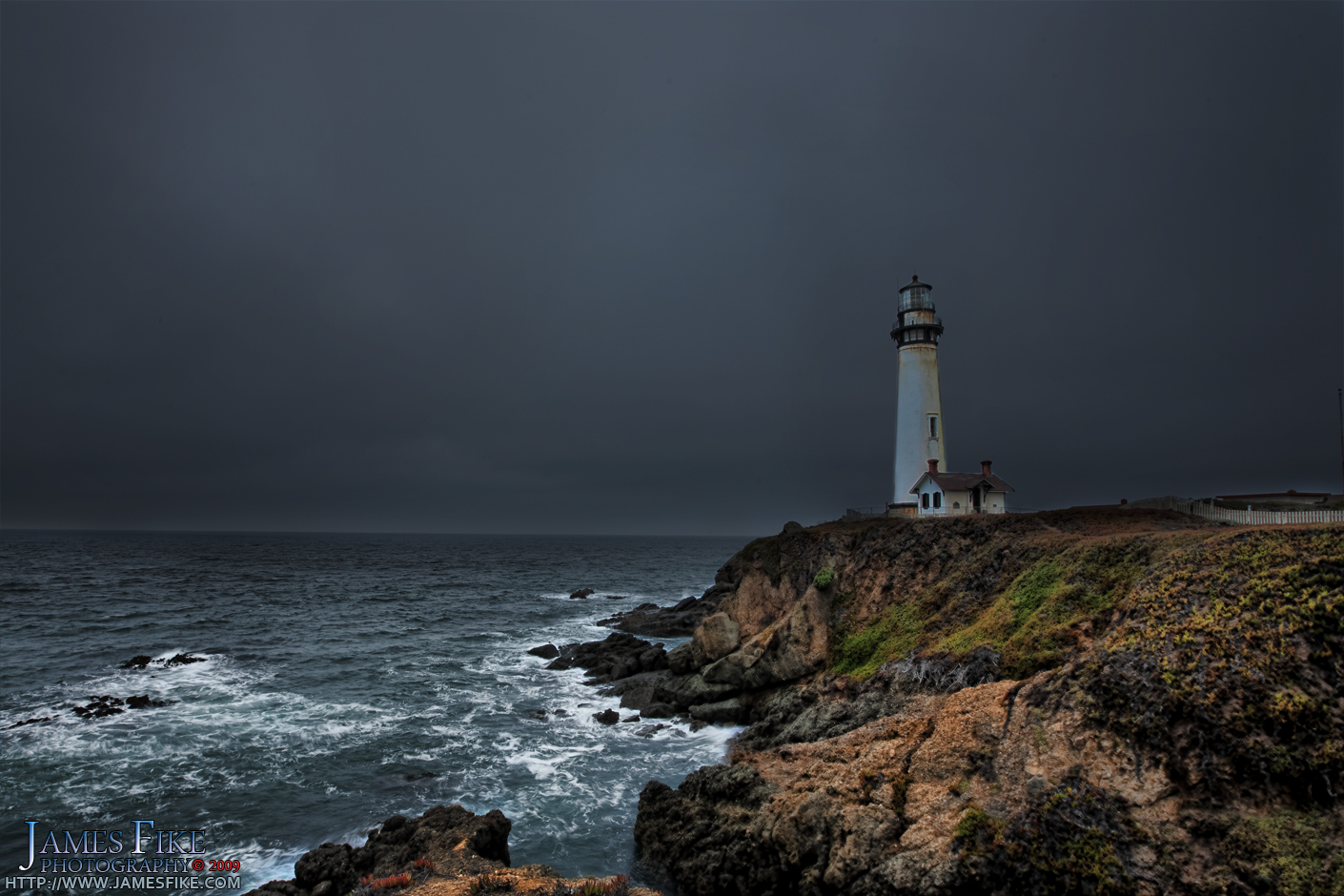 A storm descends, representing troubled times for the Pigeon Point Lighthouse.