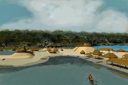 An architect's rendering of what the mounds may have looked like. Credit: Richard Thorton