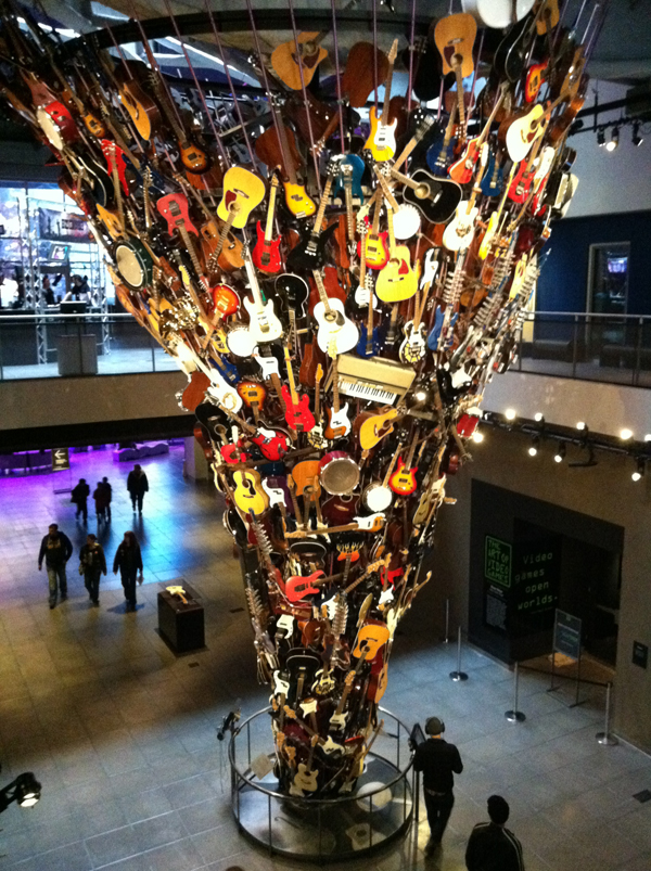 "The museum's iconic ""Guitar Sculpture."""