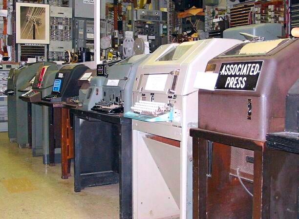 Teletype machines on display.