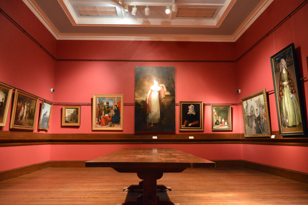 Another gallery displays paintings from Hawkins's art collection, including French, Venetian, Italian, English, Flemish, and Spanish landscapes, scenes, and portraits.