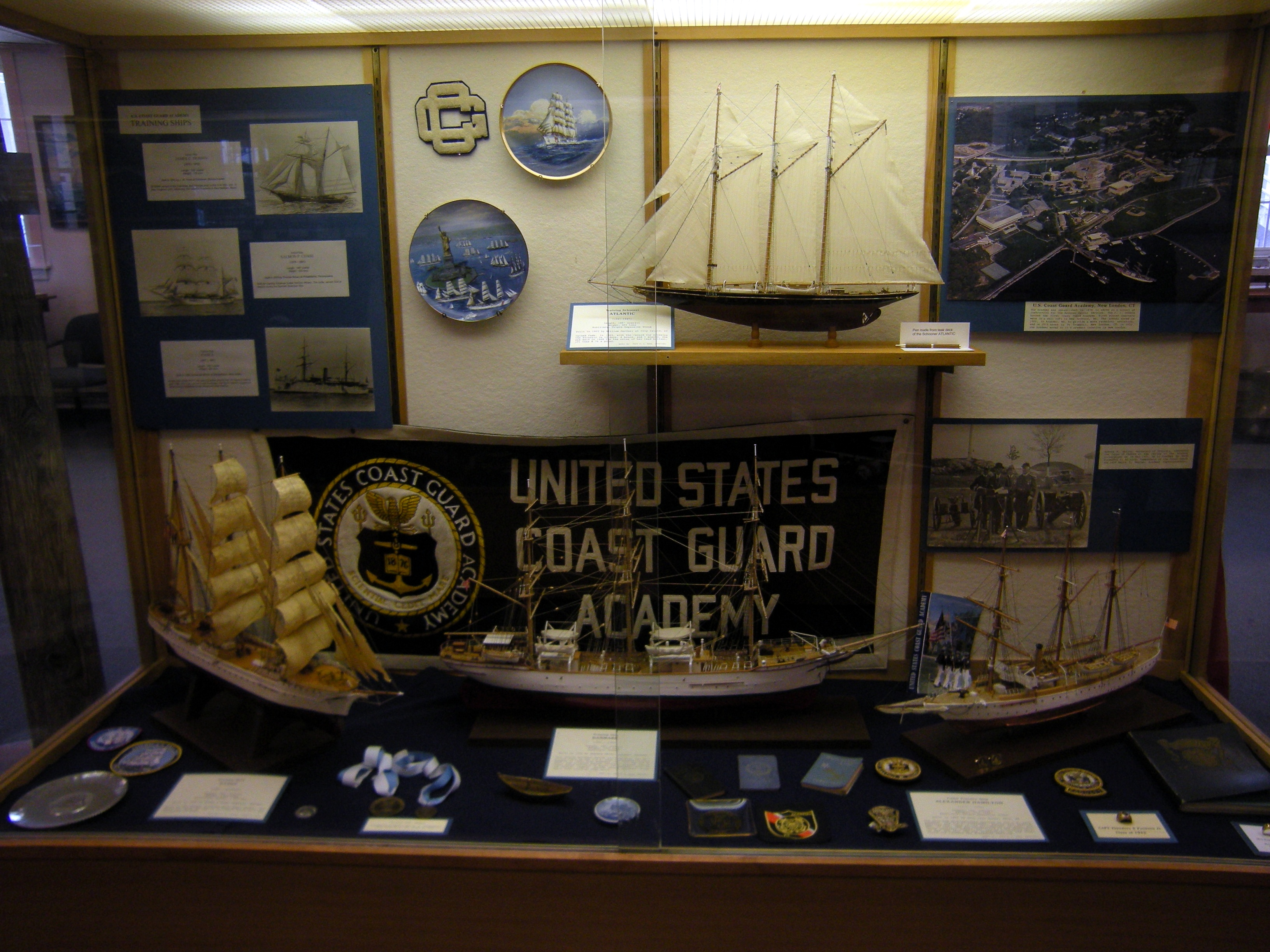 Model ships and artifacts on display.
