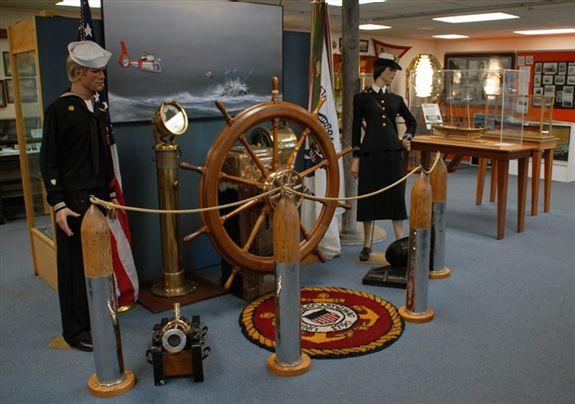 Coast Guard uniforms on display.