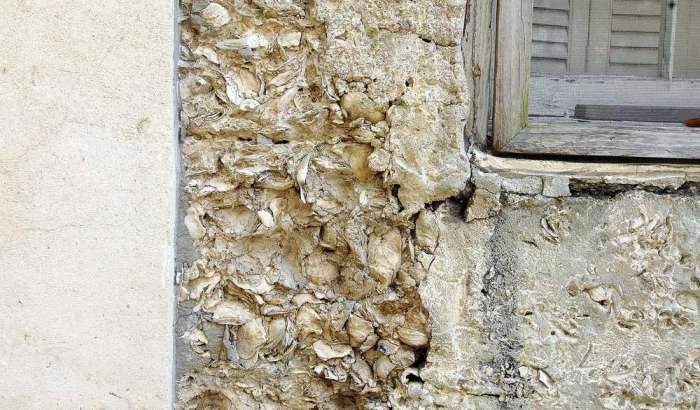 Closeup of the tabby walls with shells visible