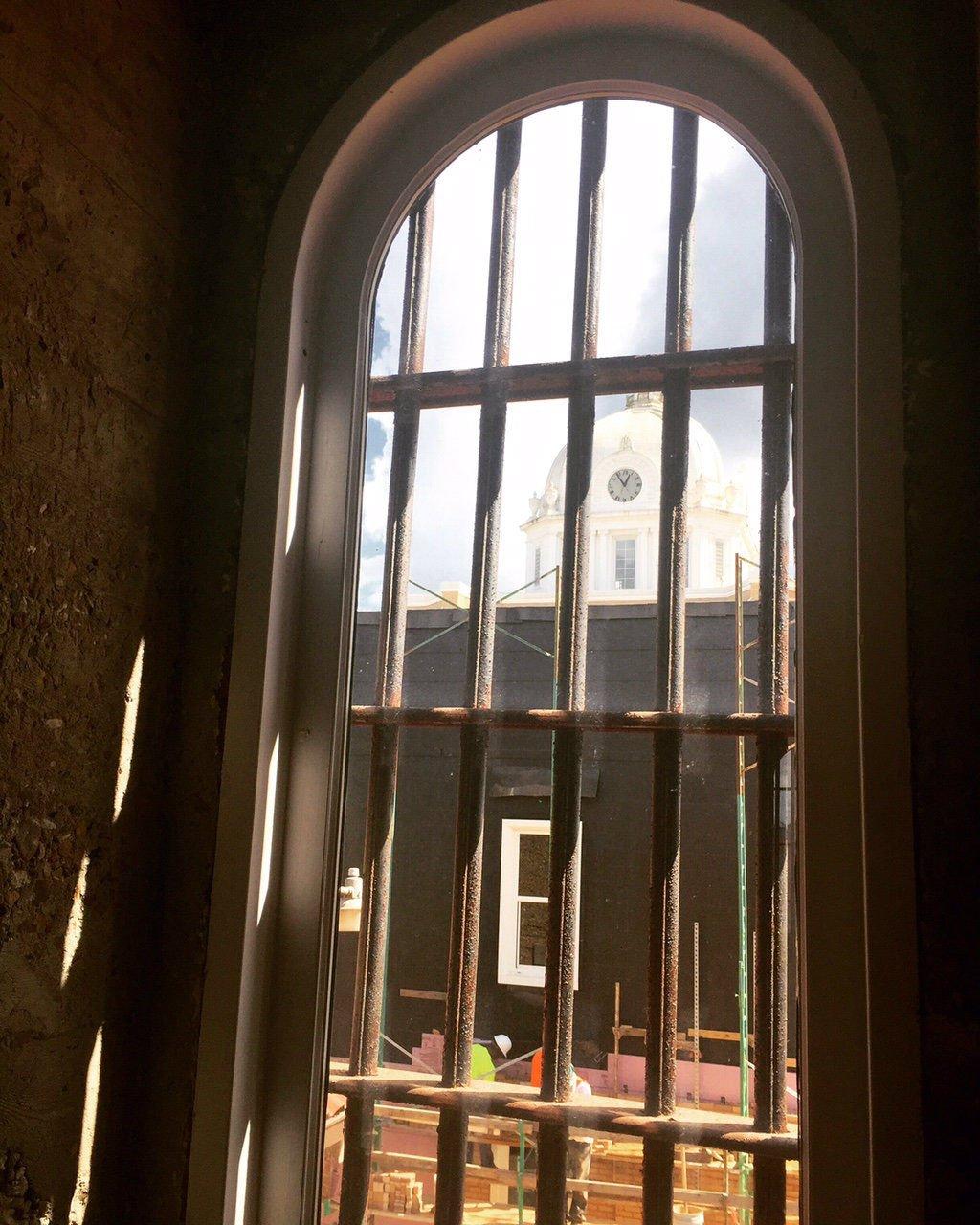 Inside the jail.