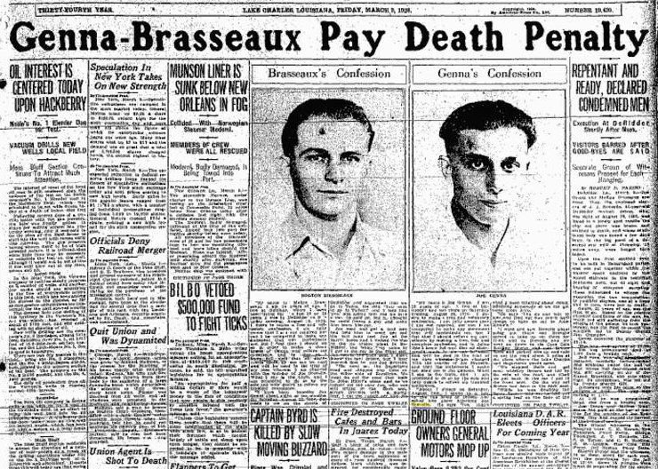 The cover of the Lake Charles American Press when Genna and Brasseaux were hanged.