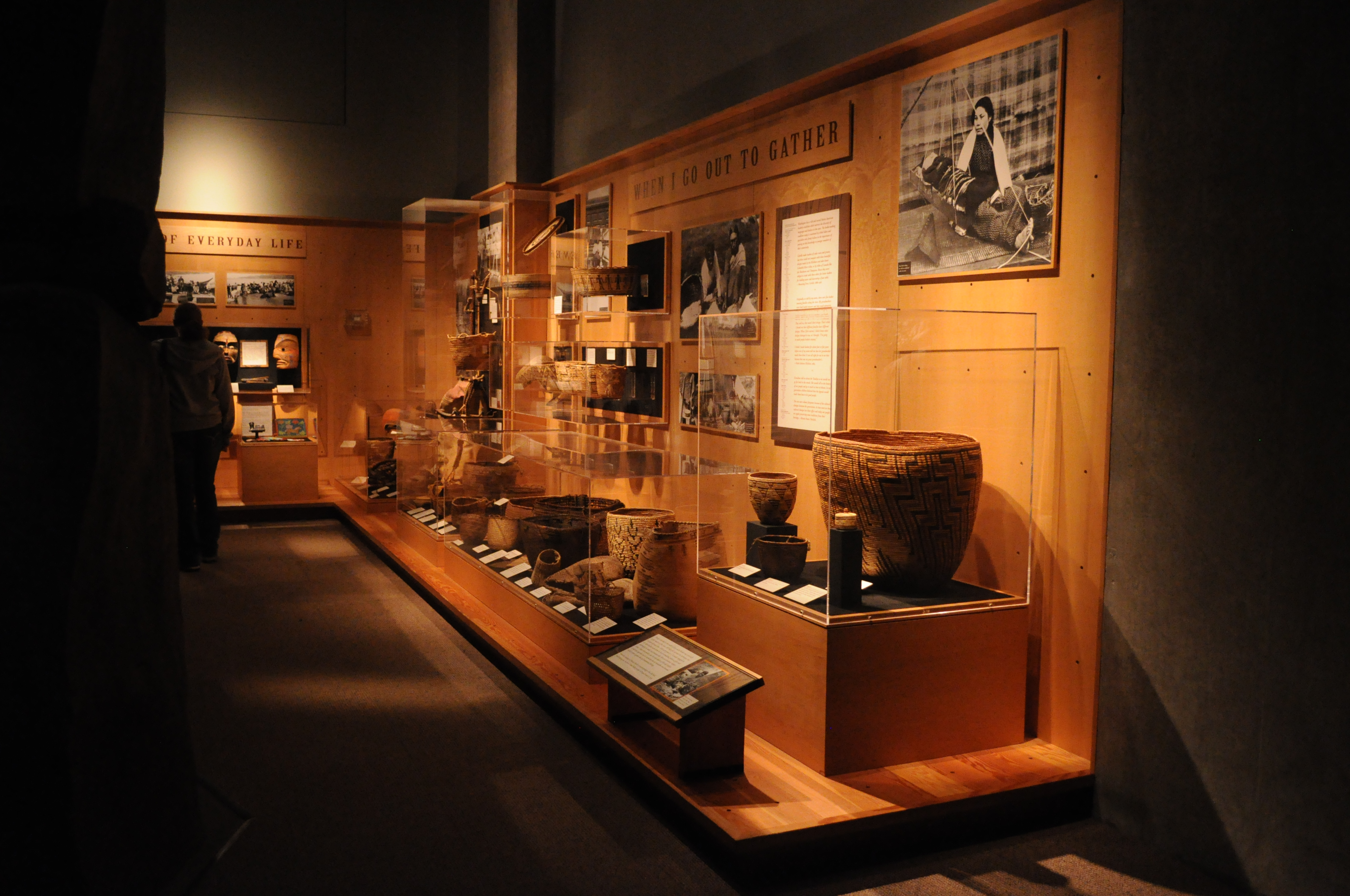 Native American baskets on display.