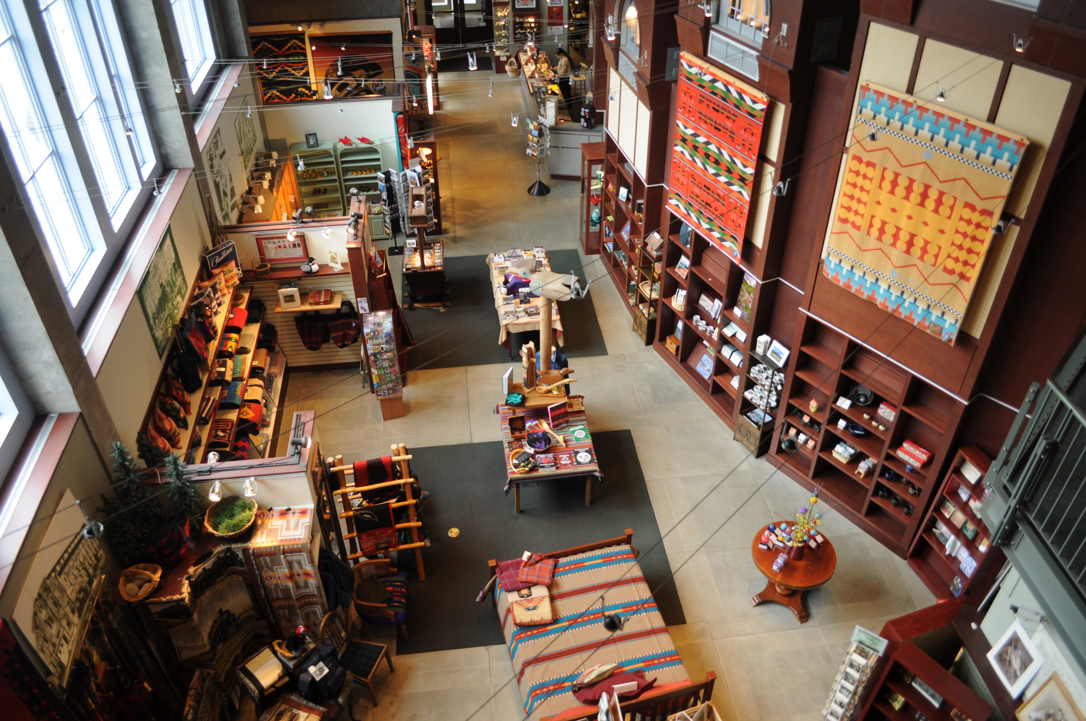 Overhead photo of the museum's gift shop.