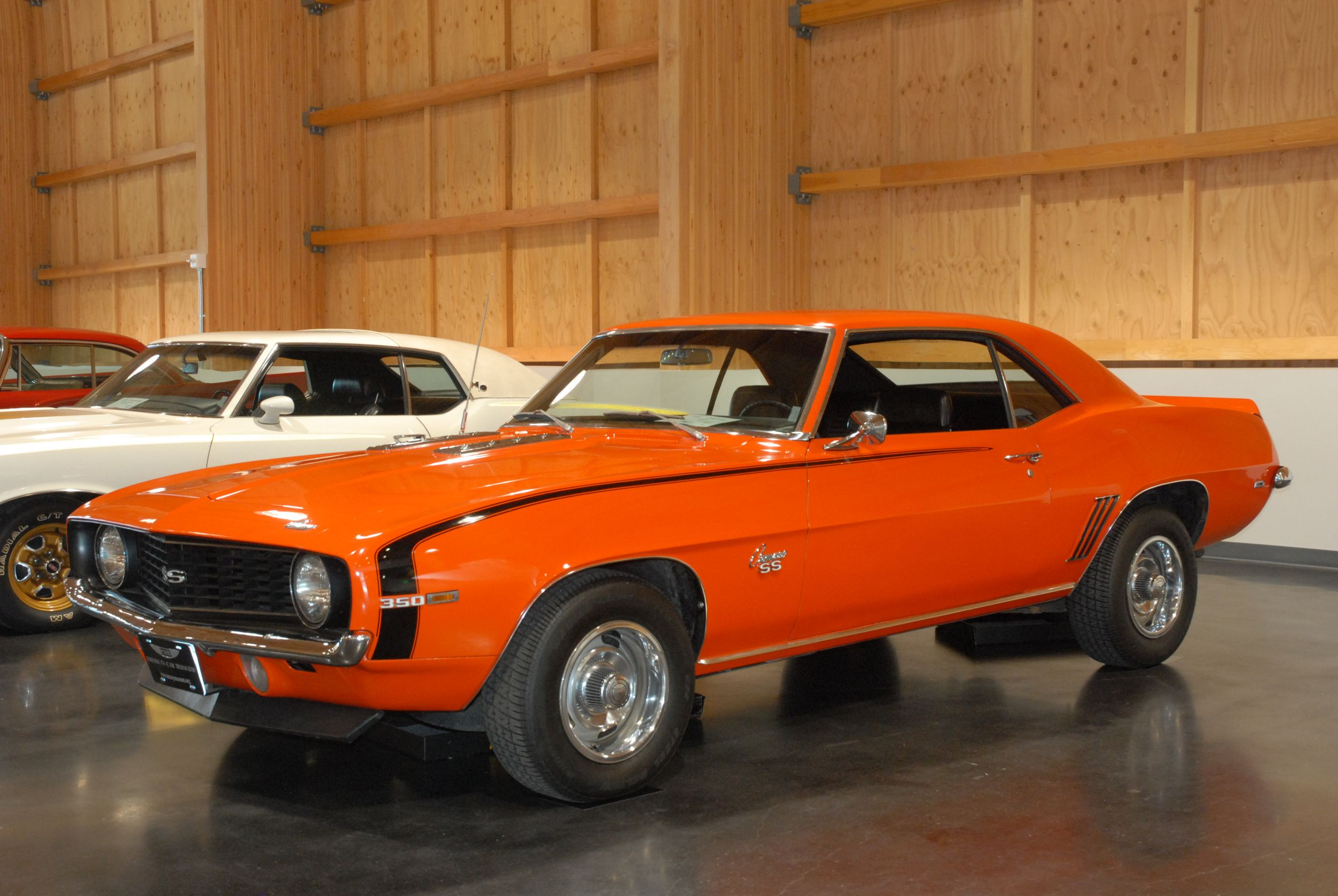 A 1969 Chevy Camaro SS Sport Coupe on display.