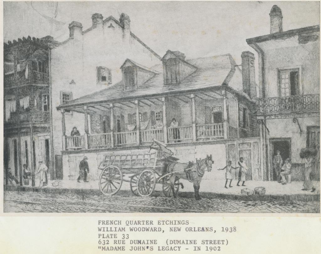 Sketch of Madam John's Legacy as it was seen in 1902 made by William Woodward. Courtesy of: The Historic New Orleans Collection.