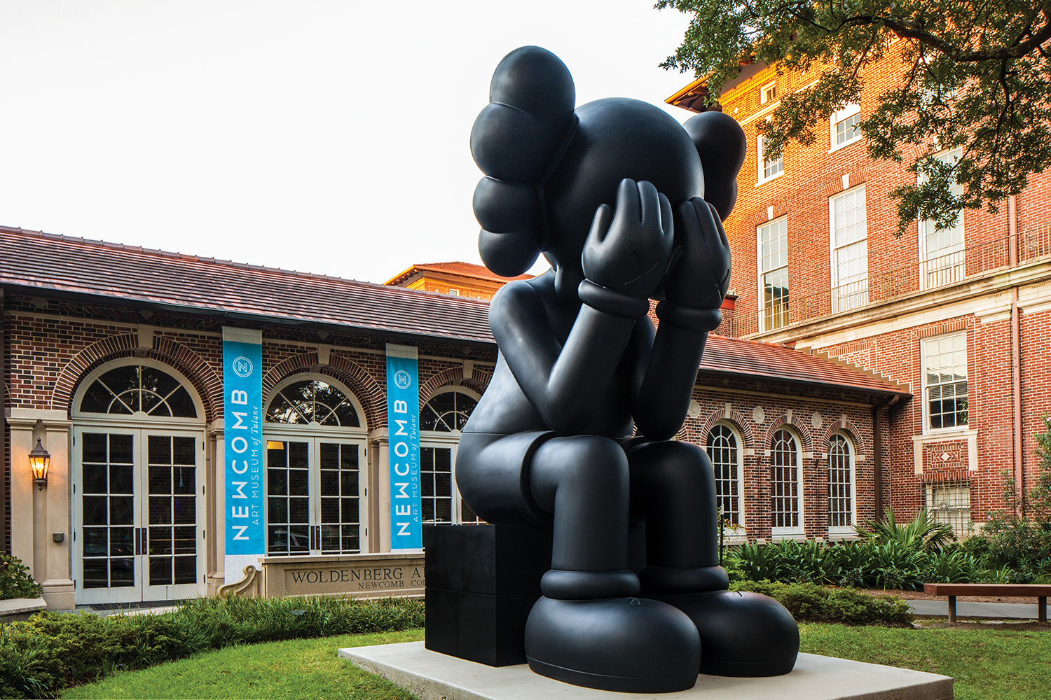 Exterior of Newcomb Art Museum with KAWS sculpture