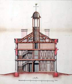 1733 diagram of the first Ursuline Convent by Ignace François Broutin