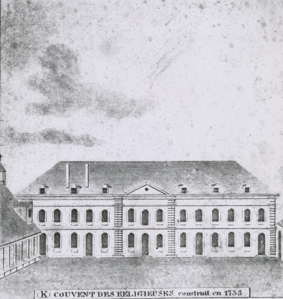 Second Convent building as it appeared the year of the Battle of New Orleans: Courtesy of the Collections of the Louisiana State Museum