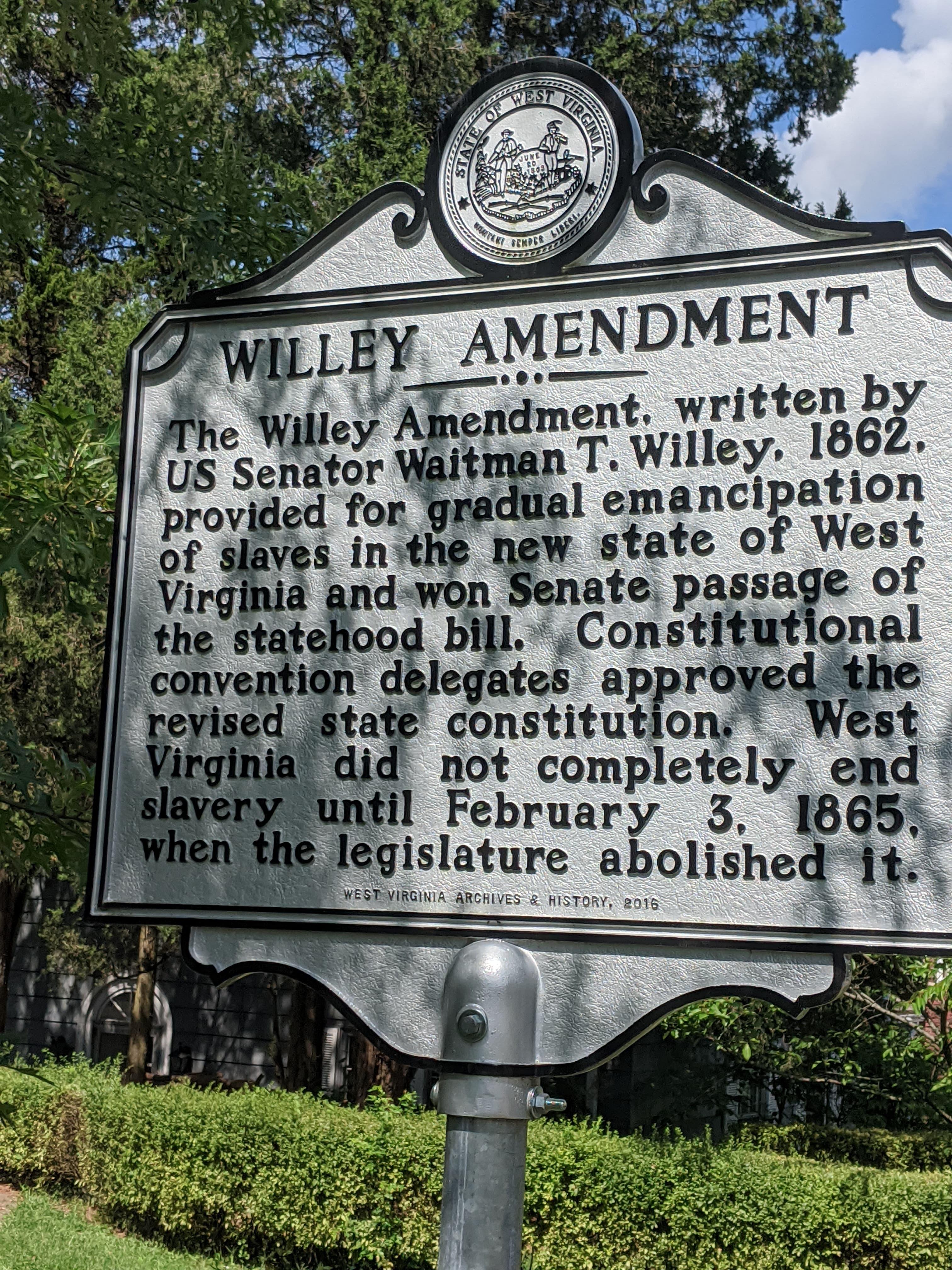Willey Amendment Historical Marker