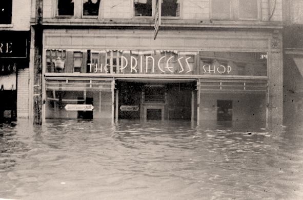 The Princess Shop, located at 911-913 3rd Avenue, Huntington, WV, shown during the Ohio River Flood of 1937.
