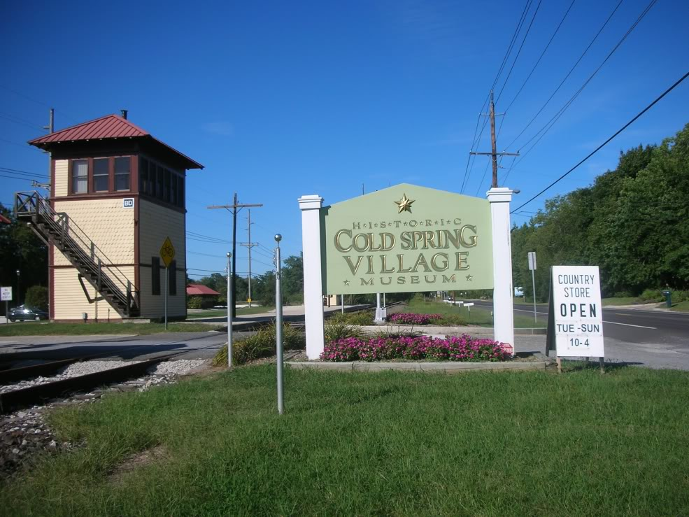 The sign at the entrance to the Historic Cold Spring Village