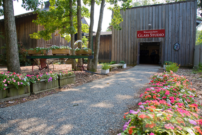 The glass studio, in which visitors can see artists make glass art
