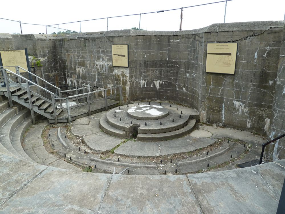 View of one of the large gun emplacements. The biggest guns at the fort were twenty inches wide; the smallest were three inches.