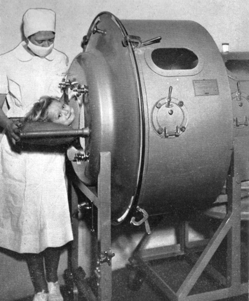 Morris Memorial Hospital owned eight iron lungs to treat its patients, including one designed for infants. This image of Morris Hospital can be found in Goldenseal Magazine.