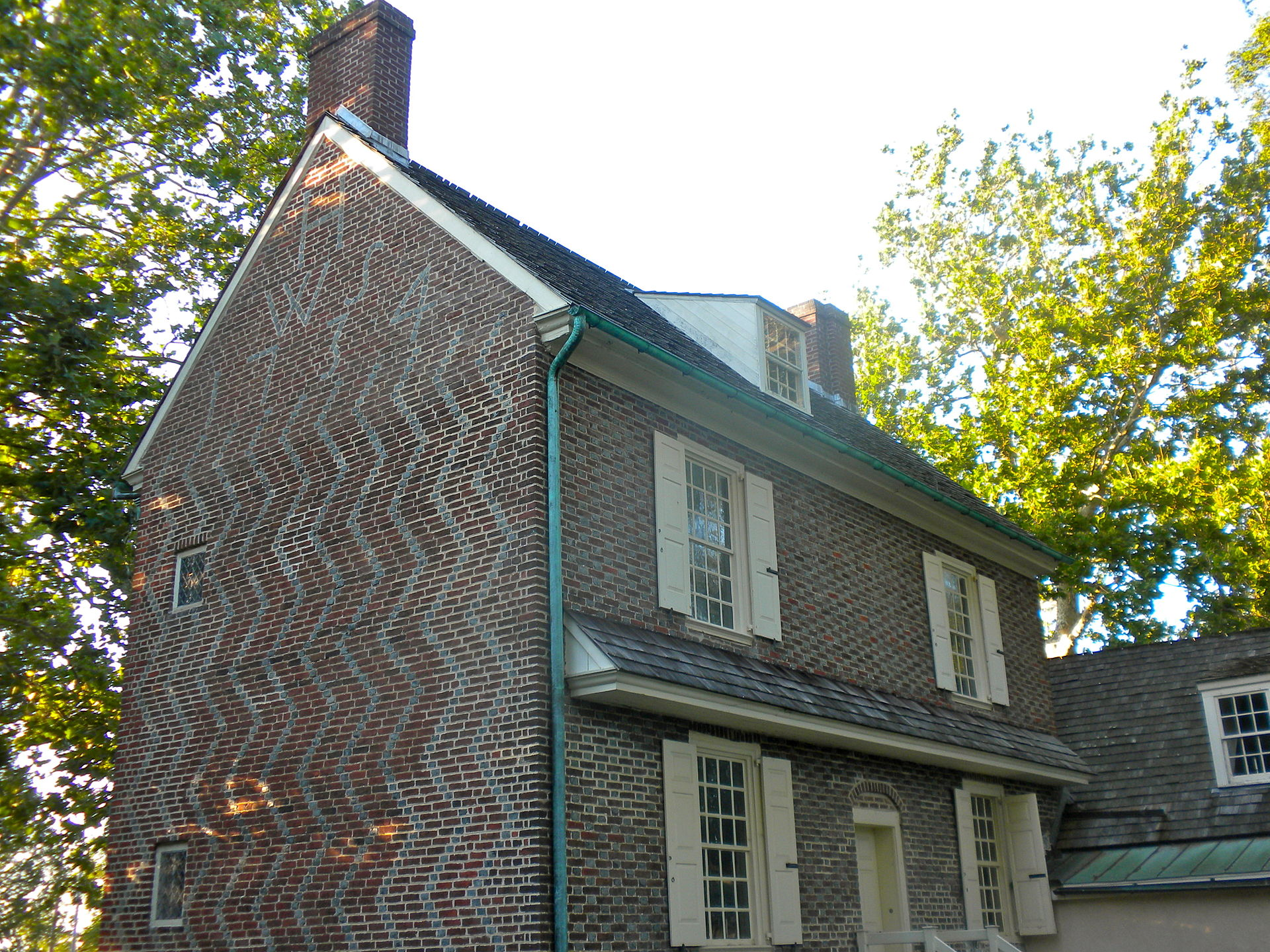 The Hancock House, with William and Sarah's initials visible