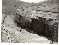 Early construction of the Sutton Dam, c.1950. Picture courtesy of Bud Ochletree and Jeff Wyatt.