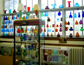 Some of the glass bottles on display
