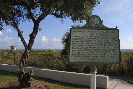 This historic marker is located just south of the location of the former station, at the intersection of Atlantic and Ocean Blvd.