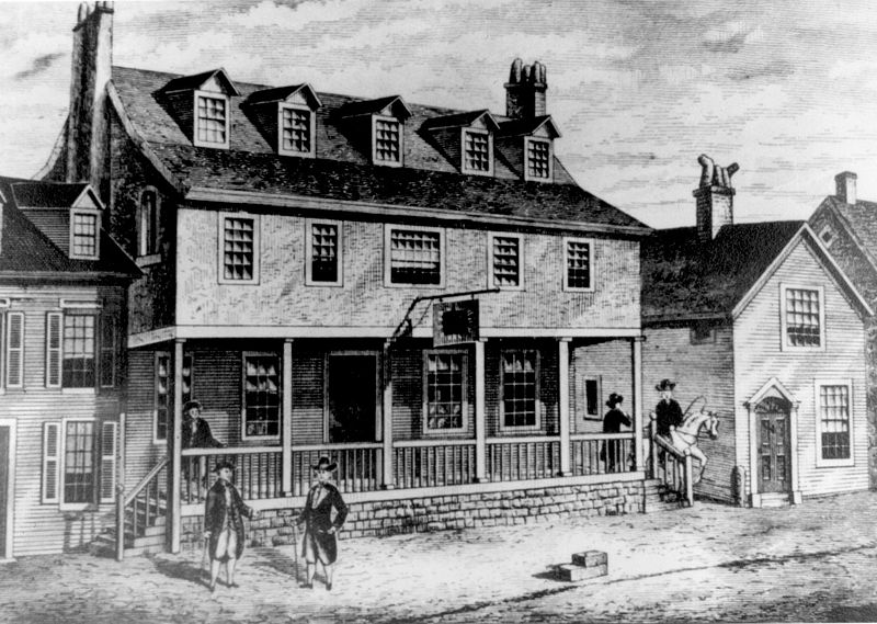 A sketch of the original tavern that stood at this location during the American Revolutionary War. This building unfortunately burned to the ground in 1781. It was the birthplace of many important organizations that still exist today. (Google Images)