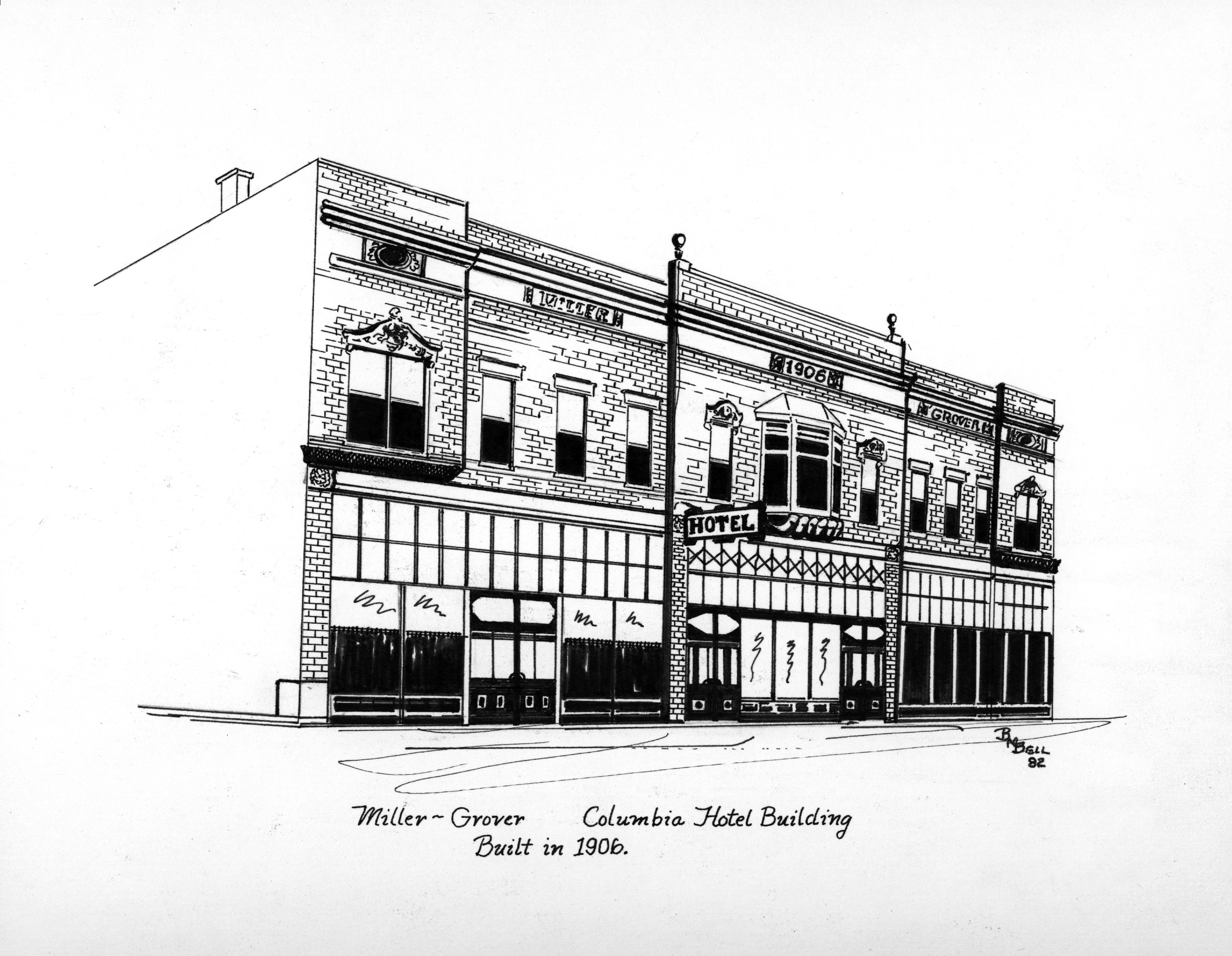 Illustration by artist Betty Bell of the Original Elman Hotel.