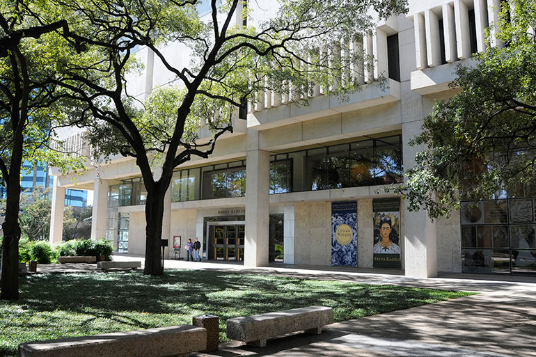 The exterior of the Harry Ransom Center.