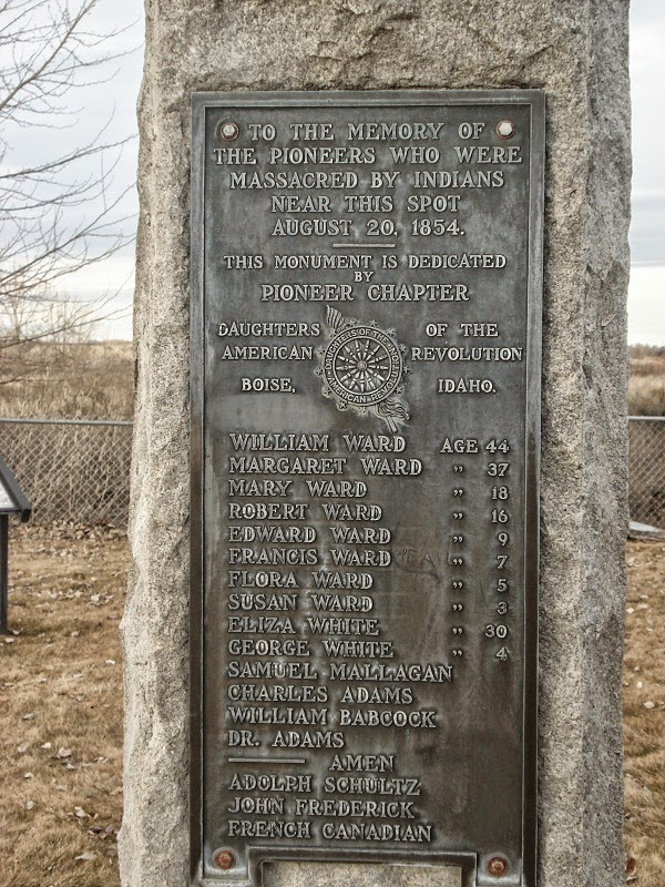 Ward Massacre Monument, with the names of those killed in the massacre