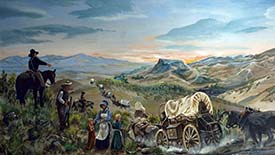 Oregon Trail emigrants entering the Boise Valley