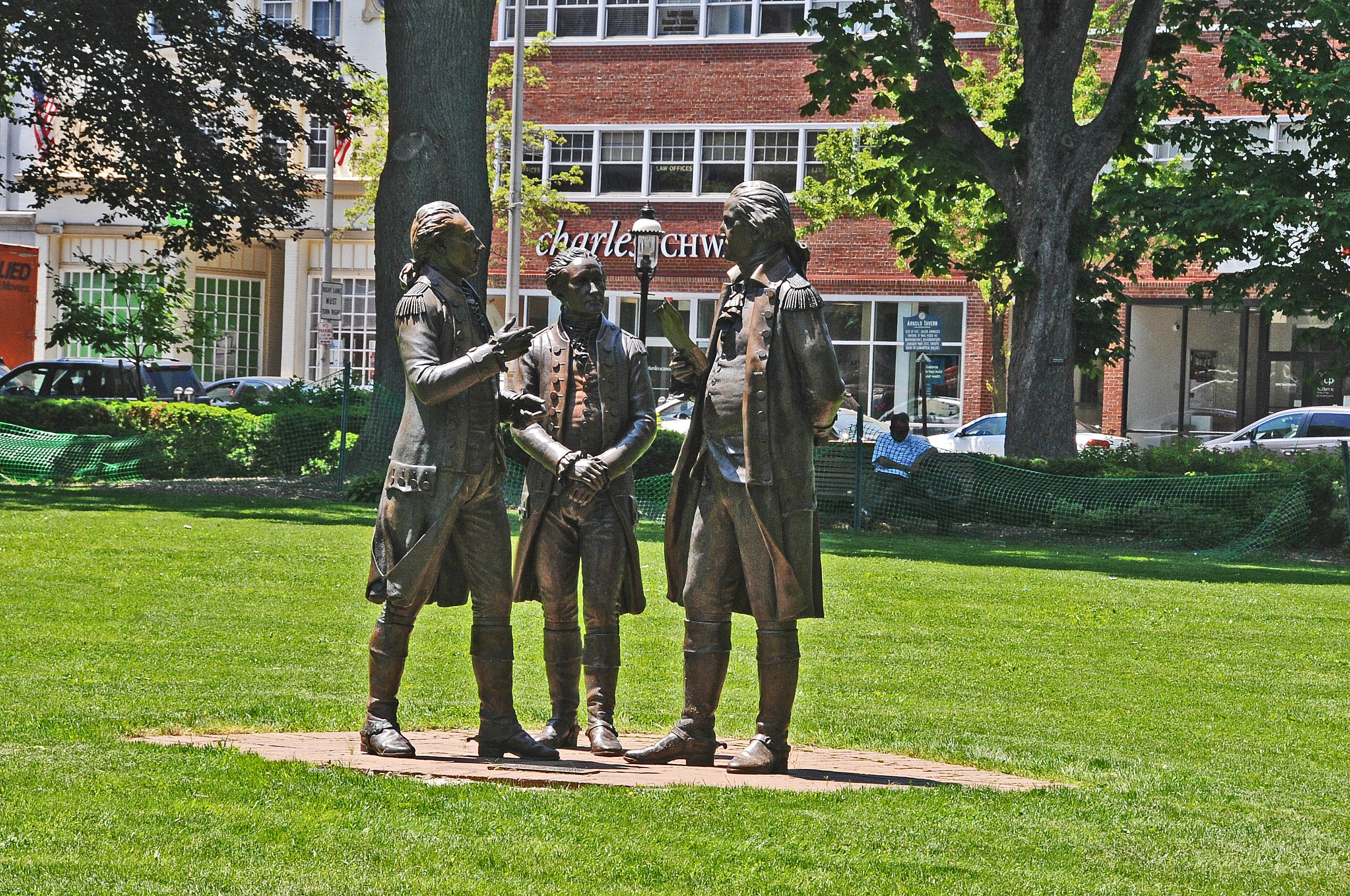 Life-sized statues of George Washington and his generals Alexander Hamilton and Marquis De Lafayette on the Morristown green, the site of Washington's first winter encampment in 1777. Image from digital commons