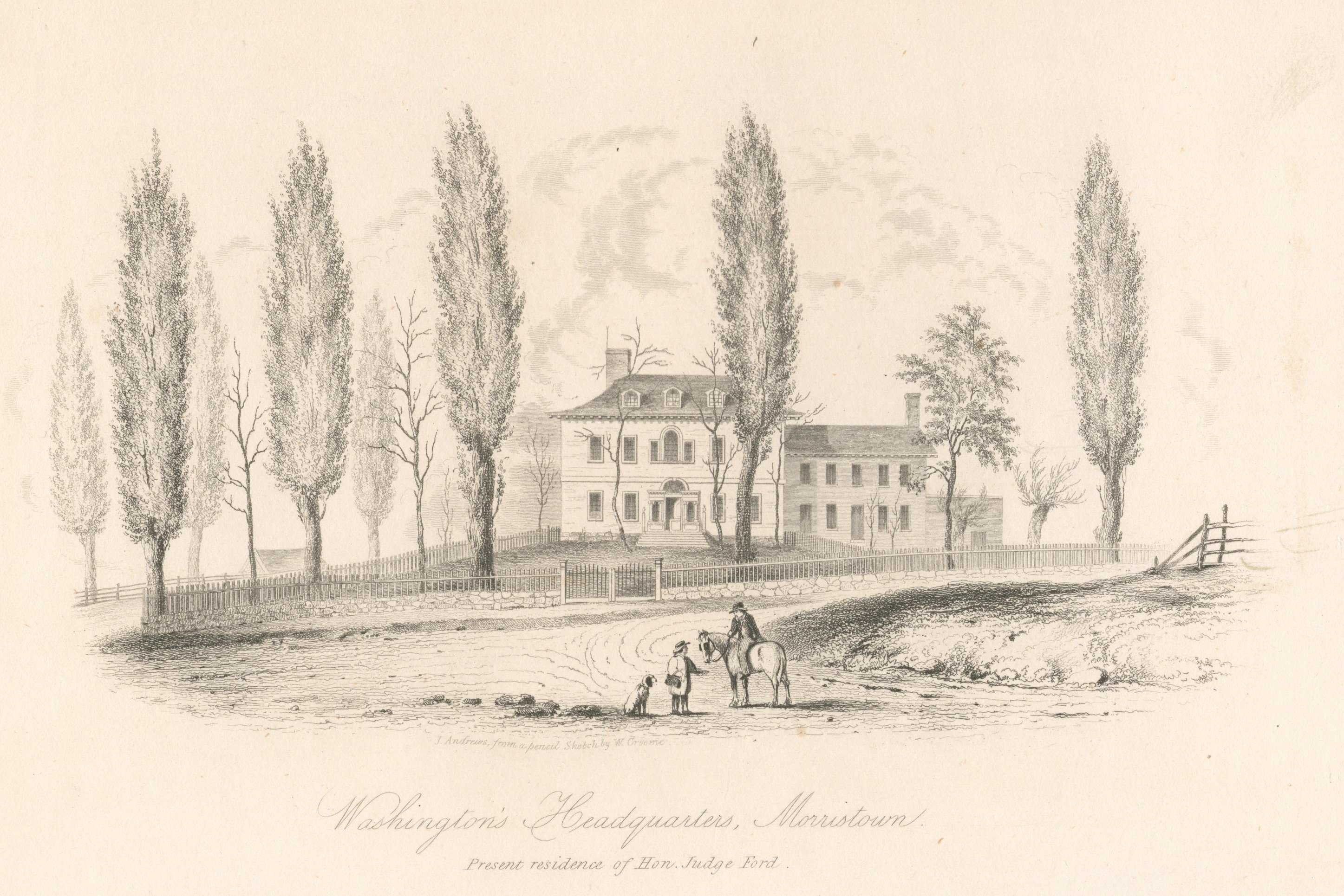 19th century engraving of Ford's Mansion by artists William Croome and Joseph Andrews. The Ford family would continue to live in this house after Washington's departure until the 1870s when it was sold to auction. Image from digital commons